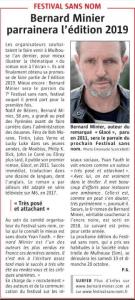 L'Alsace 16 janvier 2019 - Bernard Minier